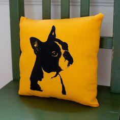 Boston Terrier pillow, handmade, dog portrait, dog art, screen print. $22.00, via Etsy.
