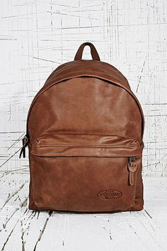 Eastpak Leather Padded Backpack in Tan - Urban Outfitters