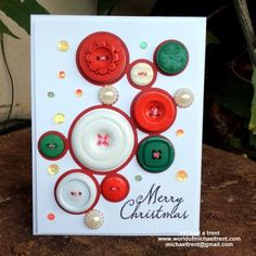 World Of Michael Trent: Merry Christmas Button Card