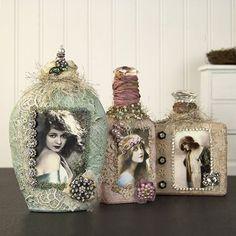 Измененные потертый шик Бутылки, созданные для деко Арт ♡ Гейл Шмидт потертый Cottage студии: