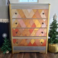 Create this project with Americana Decor® Metallics™ — Dress up a plain dresser with bold diamond shapes of Americana Decor® Metallics™.