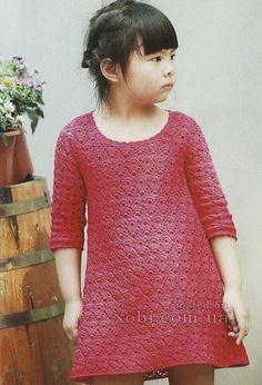Платье для девочки вязаное крючком со схемами. Это детское платье с рукавом 7/8 вяжется по схемам, приведенным ниже на картинках. платье для девочки вязаное крючком - схемы платье для девочки