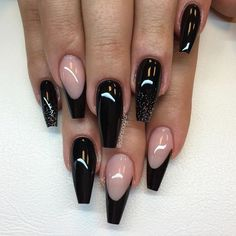 Black and Transparent French Tip Coffin Nail art design. Black is the evergreen and the stylish-est color, when it comes to trend. So, go with this great combination of black French tip coffin nail art design, to add something to your personality. Acrylic Nail Designs, Nail Art Designs, Acrylic Nails, Matte Nails, Nails Design, Black Coffin Nails, Blue Nails, Black French Nails, Red Nail