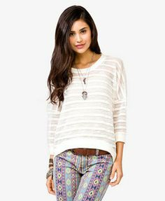 Forever 21 Clothing | Semi-Sheer High-Low Sweater | FOREVER 21 - 2045234344 on Wanelo