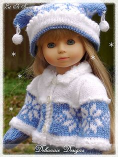 """Ravelry: 18"""" Gotz Dolls-looks like a knit sweater and hat..oh, so pretty though!"""
