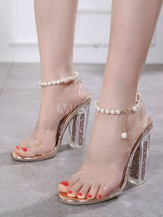 58306cfff62 High Heel Sandals Women Jelly Shoes Open Toe Pearls Clear Sandals Mules  Shoes