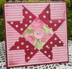 handmade card ... patchwork paper quilting ... reds with pinks ... star pattern ...