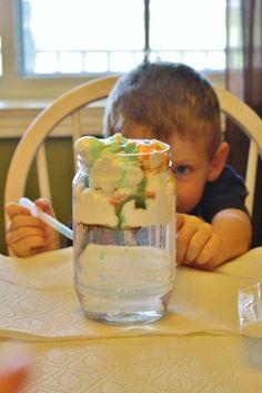 Cloud In A Jar - Hilary's Home Daycare Preschool Kids Daycare, Home Daycare, Preschool At Home, Daycare Ideas, Preschool Kindergarten, School Ideas, Science Experiments Kids, Science For Kids, Science Projects