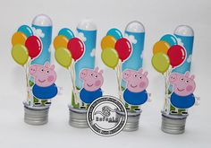 Tubete George Pig | Rafaela Sousa | Elo7 George Pig Party, Cumple Peppa Pig, Pig Birthday, Kids, Pig Party, Industrial Kids Decor, Ideas Party, 3 Year Olds, Young Children