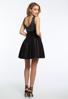 V-Neck Taffeta Skirt Dress #camillelavie