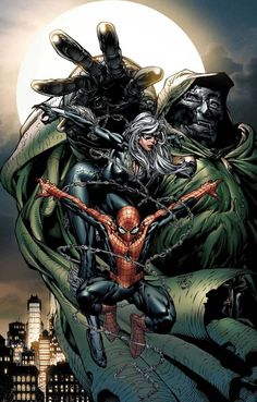 Spider-Man, Black Cat and Doctor Doom by David Finch