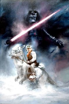 Original Painting by Roger Kastel Featuring Luke Skywalker on Tauntaun and Darth - Star Wars Paint - Ideas of Star Wars Paint - Original Painting by Roger Kastel Featuring Luke Skywalker on Tauntaun and Darth Vader Star Wars Fan Art, Star Trek, Ralph Mcquarrie, Luke Skywalker, Chewbacca, Star Wars Episode Iv, Star Wars Images, Star Wars Tattoo, Star Wars Wallpaper