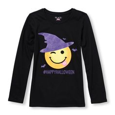Girls Long Sleeve Glitter '#HappyHalloween' Witch Emoji Graphic Tee