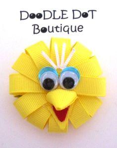 DoodleDotBoutique : Sesame Street Big Bird Hair Bow Infant Toddler