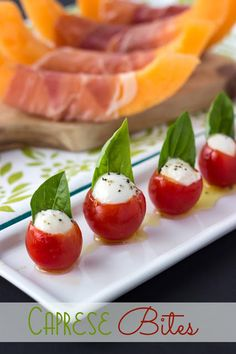 Enjoy these mini sized Caprese Bites with Pesto appetizers at your next party. Extra special by making your own pesto! Appetisers, Caprese Appetizer, New Years Appetizers, Holiday Appetizers, Summer Appetizer Recipes, Dinner Recipes, Appetizer Ideas, Holiday Treats, Appetizer Recipes
