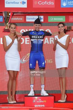 #EtixxQuickStep's #DaviddelaCruz celebrates on the podium during #Stage9 of the 71st edition of '#LaVuelta', a 164,5 km route between Cistierna to Oviedo, Alto del Naranco