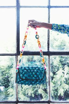 #MMissoni | Azure mélange #raffia effect bag with #multicolored #plexiglass shoulder strap | Summer 2014 Collection #musthave #itbag | @Chriselle Lim