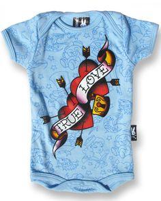 Six Bunnies Baby TRUE LOVE Strampler.Tattoo,Biker,Oldschool,Custom,Pin up Style