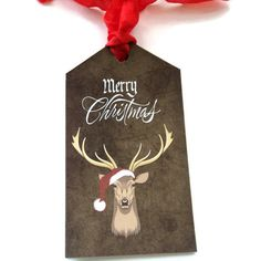 8 Rustic Christmas Gift Tags Hang Tags Buck by TAKUniqueDesigns