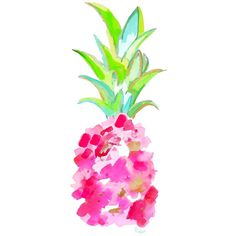 Watercolor Pink Pineapple Print-Tropical Pink-Wall Art, Watercolor... ($25) ❤ liked on Polyvore featuring backgrounds, drawings and filler