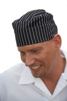 f0081ca77d9 Gangster Stripe Pillbox Chef Hat   Look like a kitchen boss in this  Gangster Stripe Chef
