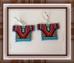 Beaded Earrings Tribal Shirt Delica beaded Ready Made by Bead4Fun
