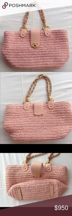 """Chanel pink raffia tote bag with golg chains Authentic Chanel pink raffia bag with gold chains straps and mongram lining bag length 11.4"""" strap drop 7.9"""" depth 4.7"""" bag heigth 9.1""""made in Italy CHANEL Bags Totes"""