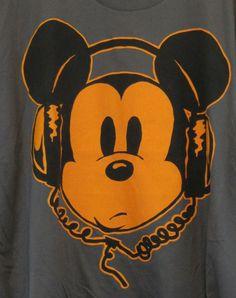 Walt Disney Mickey Mouse DJ Headphones 2XL XXL Grey T-Shirt 100% Cotton #WaltDisney #GraphicTee