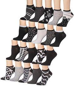 8de6ec04941 Tipi Toe Women s 20 Pairs Colorful Patterned Low Cut   No Show Socks (NS36-