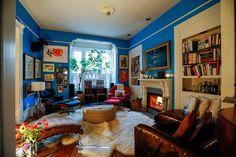 books + lit fireplace + fresh blue paint in san francisco Maximalist Interior, House Tours, San Francisco, Fresh, Books, Blue, Painting, Interiors, Decor