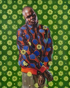 Kehinde Wiley Studio    Wiley paints contemporary black celebs and dignitaries in heroice poses against his trademark backgrounds of lush colorful patterns. Invigorating!