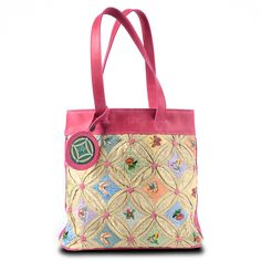 Silk Tote with Pink Leather Trim