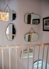 This mirror collection Jane of Posy have inspired me since I first saw a post about in January of Unfortunately, I didn't begin to be able to my own collection of beveled mirror yet, but I remember pinning this here to remind me! Mirror Stairs, Hall Mirrors, Mirror House, Mirror Walls, Mirror Mirror, Staircase Shelves, French Mirror, Mirror Gallery Wall, Stair Gallery