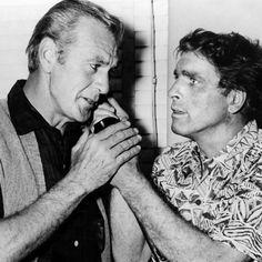 """Burt Lancaster y Gary Cooper durante el rodaje de """"Veracruz"""" (Vera Cruz), 1954"""