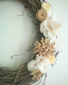 Christmas Winter  White Wreath, Holiday Wreath, White Felt Flower Wreath