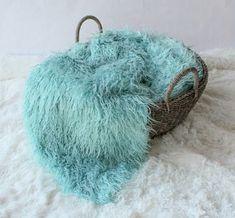 Curly Faux Fur  Sea Foam Blue Newborn Baby by SweetBabyJamesShop