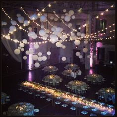 Chinese Lanterns hung from the ceiling AND #cafelights for one great party! And the #headtable was huge!