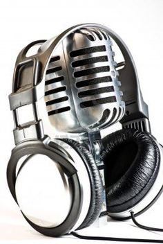 metal vintage microphone headphones Stock Photo