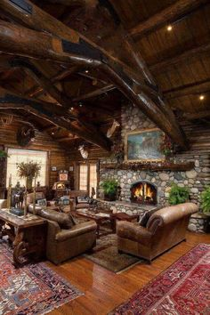 Cabin Fireplace, Log Cabins, Living Room, Fireplaces, Homes, Deco, Fire  Places, Wood Cabins, Living Rooms