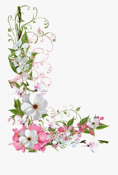 Pink and Green Spring Decor PNG Picture Clipart Flower Frame, Flower Art, Green Picture Frames, Easter Flower Arrangements, Boarder Designs, Free Stencils, Image Icon, Borders And Frames, Floral Border
