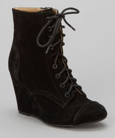 Black Lace-Up Stana Boot