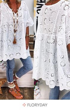 Plus Size Solid Casual V-Neckline Sleeves Blouses - White L - Herren- und Damenmode - Kleidung Boho Fashion, Fashion Dresses, Womens Fashion, Dresses Dresses, Fashion Blouses, Plus Size Blouses, Plus Size Dresses, Vetement Hippie Chic, Cool Outfits
