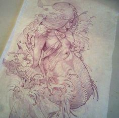 Mermaid Drawings, Mermaid Art, Tattoo Sketches, Tattoo Drawings, Neo Traditional Tattoo, Traditional Mermaid Tattoos, Pink Rose Tattoos, Merfolk, Tattoo Blog