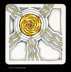 "#197 AURKAS  Exploring Art: 12/09/14 Tangles used, Arukas, Trentwith. Tile Size: 3.5"" sq."