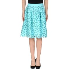 P.a.r.o.s.h. Knee Length Skirt ($135) ❤ liked on Polyvore featuring skirts, azure, floral lace skirt, flower print skirt, a-line skirt, floral print skirt and floral print a-line skirt