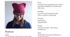 Super Cat Hat.pdf - In bulky yarn - Woolease thick and quick Raspberry