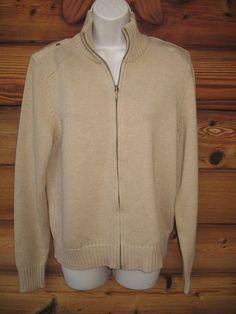 Lauren Ralph Lauren Sweater L Full Zip 100% Cotton Dark Beige NEW #LaurenRalphLauren #FullZip