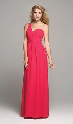 Alfred Angelo 7257 One Shoulder Long Bridesmaid Dress image