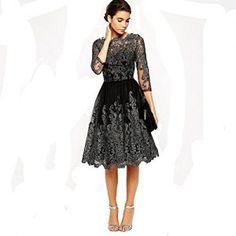 Damen Ballkleider Abendkleid Lang Stickerei Brautjungfer Cocktailkleid  Langes Kleid Schwarz (M)  abendkleidverkauf   7d17d1ee8460