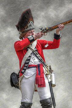 British redcoat firing musket